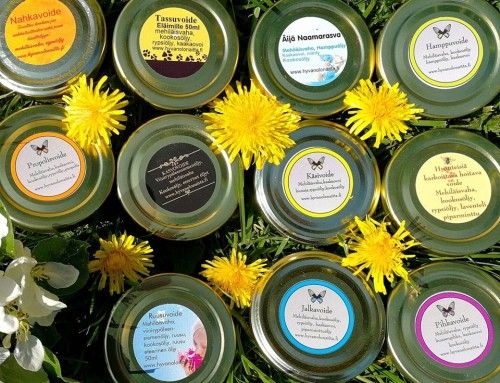 Itse valmistamamme mehiläisvahavoiteet ja ihon kesähoito